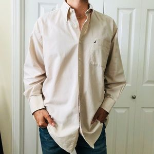 Nautica Cream Vintage Oxford Shirt 17 32/33